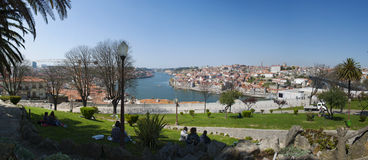 Porto, Portugal, Iberian Peninsula, Europe. Portugal, 26/03/2012: the skyline of Porto and the Douro River seen from the Jardim do Morro, a little public park on Stock Photo