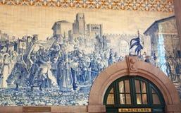 Porto, Portugal, Iberian Peninsula, Europe, azulejos, Railway Station, Sao Bento. Porto, 26/03/2012: the ticket office and azulejos panels that depict scenes of Royalty Free Stock Photo
