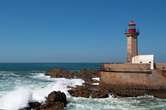 Porto, Portugal, Iberian Peninsula, Europe, Felgueiras, lighthouse, Atlantic Ocean stock photo