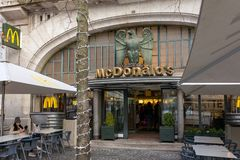 Famous McDonald`s Imperial restaurant is an historical cafe in Porto, Portugal stock photography