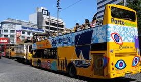 Porto, Portugal - juli 10 2010: een tramspoor Stock Foto's