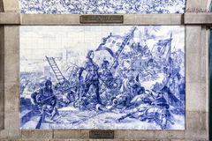 PORTO, PORTUGAL - JULY 04, 2015: Ancient vintage Azulejos panel Royalty Free Stock Images