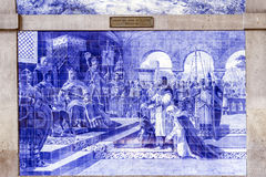 PORTO, PORTUGAL - JULY 04, 2015: Ancient vintage Azulejos panel Royalty Free Stock Image
