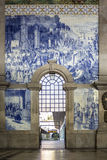 PORTO, PORTUGAL - JULY 04, 2015: Ancient vintage Azulejos panel Stock Photos