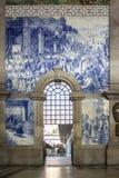 PORTO, PORTUGAL - JULY 04, 2015: Ancient vintage Azulejos panel Stock Photos
