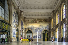 PORTO, PORTUGAL - JULY 04, 2015: Ancient vintage Azulejos panel Stock Images