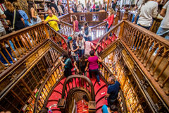 Porto, Portugal - 08 July 2017. High angle view of stairs in the bookstore Livraria Lello Stock Photography