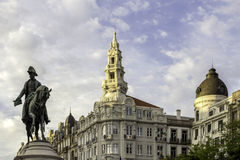 PORTO, PORTUGAL - JULY 04, 2015: King Pedro IV statue Porto Stock Photography