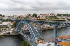 Porto, Portugal - July, 2017. Panoramic aerial view of Dom Luis Bridge in Porto in a beautiful summer day, Portugal stock images
