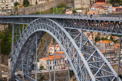 Porto, Portugal - July 2017. View of the iconic Dom Luis I bridge crossing the Douro River, and the historical Ribeira and Se Dist. View of the iconic Dom Luis I Stock Photos