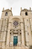 Architecture of Porto, Portugal. PORTO, PORTUGAL - JUN 21, 2014: Cathedral of the Assumption of Our Lady (Porto Cathedral), one of the most important Romanesque royalty free stock image