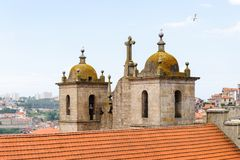 Architecture of Porto, Portugal. PORTO, PORTUGAL - JUN 21, 2014: Cathedral of the Assumption of Our Lady (Porto Cathedral), one of the most important Romanesque stock image