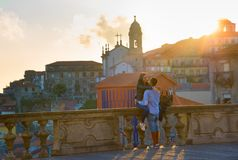Romantic couple sunset. Porto, Portugal stock image