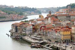 PORTO, PORTUGAL - JUNE 21, 2018: Porto aerial view with Douro river.  stock photos
