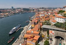 Porto, Portugal / June 21, 2017 - Drone view of Porto with the D Royalty Free Stock Photography