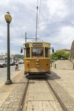 PORTO, PORTUGAL - JUNE 25, 2017: Famous Heritage yellow tram, ca. Lled Electrico in the center of Porto, On June 25, 2017 in Porto, Portugal royalty free stock photos