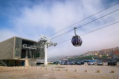 Gaia Cable Car station, Porto, Portugal. PORTO, PORTUGAL - JUNE 3, 2015: Lower station of the Gaia Cable Car Nova de Gaia of Porto city, operated since 2011, a Stock Photos