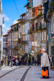 Porto, Portugal-June 15, 2016: One of the streets in the old town of Porto stock image