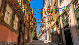 PORTO, PORTUGAL - JUNE 28, 2016: Quiet Porto street decorated wi Stock Image