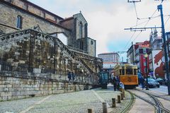 PORTO, PORTUGAL - MARCH 29, 2018 - city streets and traditional facades of old houses in Porto royalty free stock photography