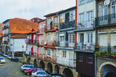 PORTO, PORTUGAL - MARCH 29, 2018 - city streets and traditional facades of old houses in Porto royalty free stock photo