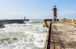 Felgueiras lighthouse and pier at Douro river mouth in Porto, Po stock photography