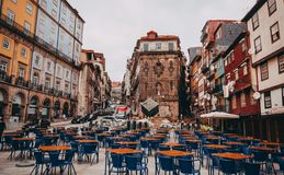 Porto old town street with cafes stock image