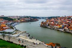 Porto top view on the Douro river royalty free stock image