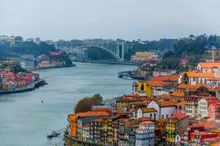 Porto old town and Arrabida bridge stock photos