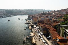 Porto, Portugal. May 8, 2018. View from the top of the roofs of the city of Porto and its river. Numerous boats on the river and royalty free stock photo