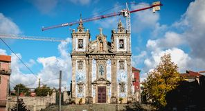 Architectural detail of Saint Ildefonso Catholic Church in Porto, Portugal royalty free stock photography