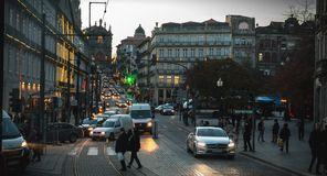 Atmosphere of a street in the historic city center of Porto stock photo