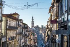 Cityscape of Porto and Clerigos Church at evening royalty free stock photo