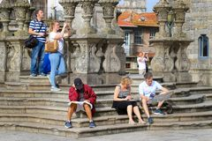 Group of tourists on the square near Cathedral in Porto stock image