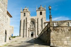 Se Do Porto, old roman cathedral  in Porto, Portuga. PORTO, PORTUGAL - OCTOBER 31, 2017: Se Do Porto, old roman cathedral standing on a highest point in Porto Stock Photos