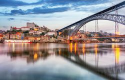 Porto, Portugal old city skyline from across the Douro River royalty free stock photography