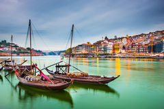Porto Portugal. Porto, Portugal old town cityscape on the Douro River with traditional Rabelo boats royalty free stock images