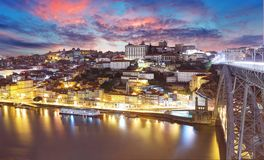 Porto, Portugal old town on the Douro River. Oporto panorama royalty free stock image