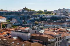 Porto, Portugal old town ribeira aerial promenade view with colorful houses. Near Douro river stock photos