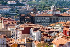 Porto, Portugal old town ribeira aerial promenade view with colorful houses. Near Douro river stock photography