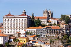 Porto, Portugal old town ribeira aerial promenade view with colorful houses. Near Douro river royalty free stock image
