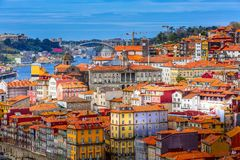 Porto, Portugal old town view with Douro river. Porto, Portugal old town ribeira aerial view with colorful houses, Douro river royalty free stock image