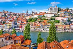 Porto, Portugal old town skyline from across the Douro River.Po Stock Photography