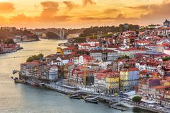Porto, Portugal old town skyline from across the Douro River.Po Stock Photos