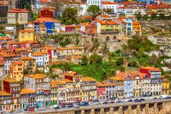 Porto, Portugal old town view with Douro river. Porto, Portugal old town ribeira aerial promenade view with colorful houses near Douro river stock image