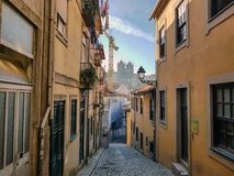 Porto, Portugal. Panoramic view of colorful old houses of Porto and Porto Cathedral Se do Porto, Portugal royalty free stock photo