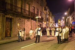 PORTO PORTUGAL - procession i heder av vår dam av Fatima Royaltyfri Fotografi