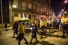 PORTO PORTUGAL - procession i heder av vår dam av Fatima Arkivbild