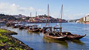 Porto. Portugal. The Rabelo boat is a traditional Portuguese cargo boat that for centuries was used to transport people and goods along the Douro River Stock Image