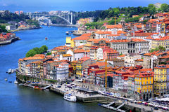 Porto, Portugal. Ribeira, the old town of Porto, and the river Douro, Portugal stock photo